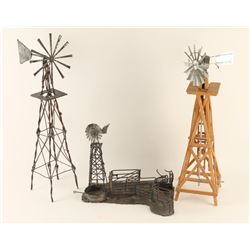 Collection of 3 Handmade Windmills
