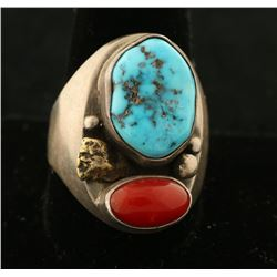 Turquoise & Coral Ring
