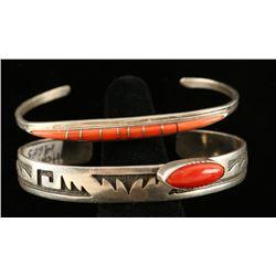 Lot of 2 Coral Hopi bracelets
