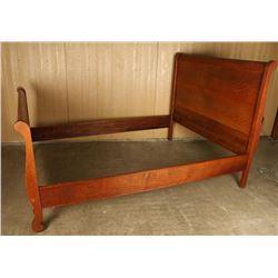 Tiger Oak Sleigh Bed