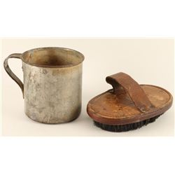 US Marked Horse Brush & Tin Cup