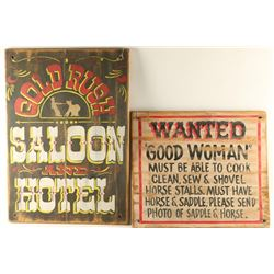 Lot of 4 Wooden Signs