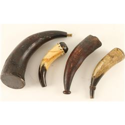 Lot of 4 Antique Powder Horns