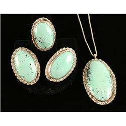 Mint Green Necklace, Earring & Ring Set