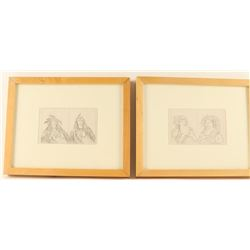 2 Lithographs of Native American Man & Woman
