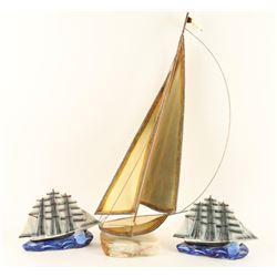 Burnished Metal Tall Mast Sailing Boat