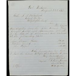 1863 Receipt from Fort Pickens