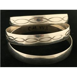 Collection of 3 Native American Bangle Bracelets
