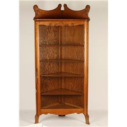 Tiger Oak Corner Curio Cabinet