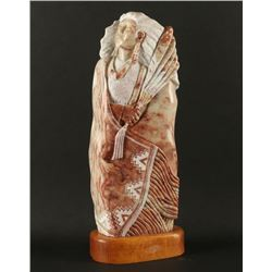 Navajo Stone Carving of Indian Maiden