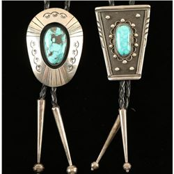 2 Native American Turquoise Bolo Ties