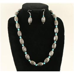 Sterling & Turquoise Beaded Necklace & Earrings