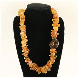 Amber Stone Necklace with Ammonite Mission