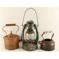 2 Antique Teapots & Lantern