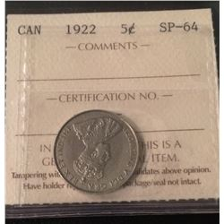 1922 Canada 5 Cent Far Rim ICCS Certifed SP-64