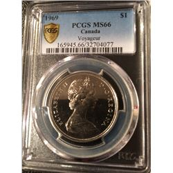 1969 Canada 1 Dollar - PCGS MS-66 (Pop 2 !!)