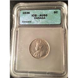 1936 Canada 5 Cent - AU50