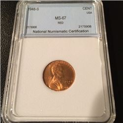 1948-S Lincoln Cent NNC MS67 Red