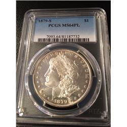 USA;  1879-S $1 PCGS MS64PL