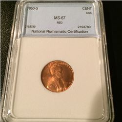 1950-S Lincoln Cent NNC MS67 Red