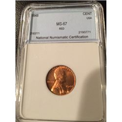 1948 Lincoln Cent NNC MS67 Red