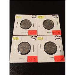 (4) 1929,33,34,35 Canada Nickels