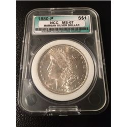 1880-P Morgan Silver Dollar NCC MS67