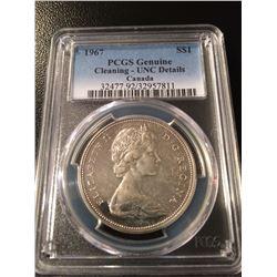 1967 Canada Dollar PCGS UNC