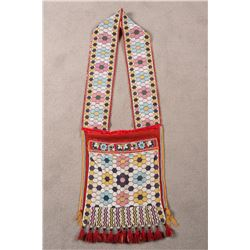 "Eastern Woodlands Loom Beaded Bandolier Bag, 38"" overall"