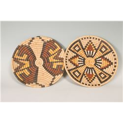 Two Hopi Coiled Basketry Trays