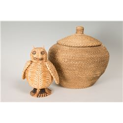 Papago Lidded Basket together with Papago Basketry Owl