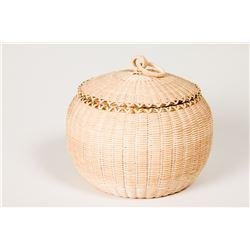 Lidded Split Ash Basket by Jeremy Frey (Passamaquoddy Indian)