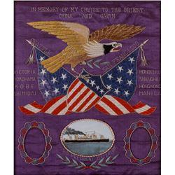 "Spanish/American War Period Silk Embroidery, 19"" x 16"""