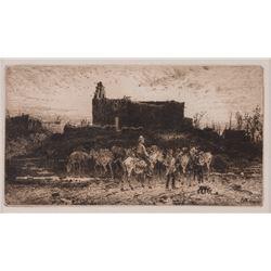 Peter Moran, etching