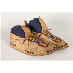 "Cheyenne Beaded Woman's Moccasins, 9 ½"" long"