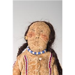 """Southern Plains Beaded Hide Doll, 12"""" long"""