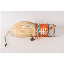 """Sioux Quilled and Beaded Bladder Bag, 11"""" long x 3 ½"""""""