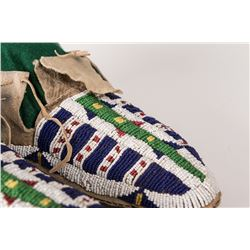 """Sioux Fully Beaded Man's Moccasins, 10 ½"""" long"""