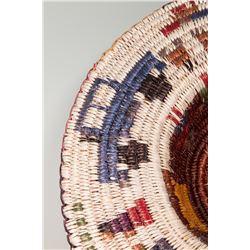 "Hopi Basketry Hat, 2 ½"" x 16"" diameter"