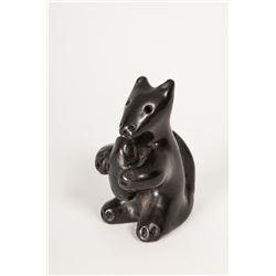 6 Santa Clara Pueblo Pottery Animals with 2 small Santa Clara Pots