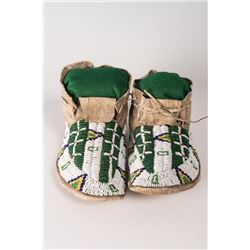 """Sioux High-cuff Fully Beaded Man's Moccasins, 11"""" long"""