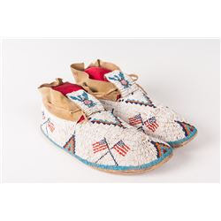 """Sioux Beaded Man's Moccasins, 12"""" long"""