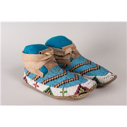 """Northern Plains High-cuff Beaded Man's Moccasins, 10"""" long"""