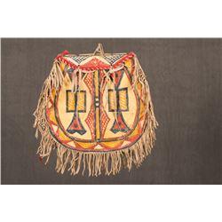 """Ogalala Sioux Painted Parfleche Round Bag, 13"""" x 14"""" x 3"""""""