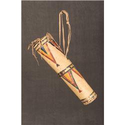 "Sioux Painted Parfleche Cylinder, 15"" long"