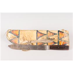 Northern Plains Painted Parfleche Knife Case and Knife