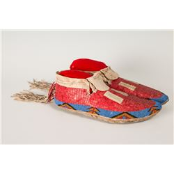 """Lakota Beaded and Quilled Man's Moccasins, 10 ½"""" long"""