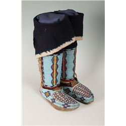 """Nez Perce Fully Beaded Woman's Hightop Moccasins with Leggings, 10"""" long"""