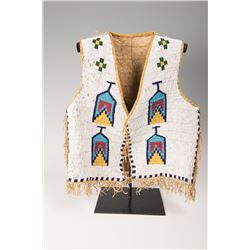 """Sioux Fully Beaded Man's Vest, 20"""" x 17"""""""