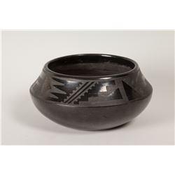 """San Ildefonso Pueblo Pot by Tonita and Juan Roybal, 3 ½"""" x 8 ¼"""""""